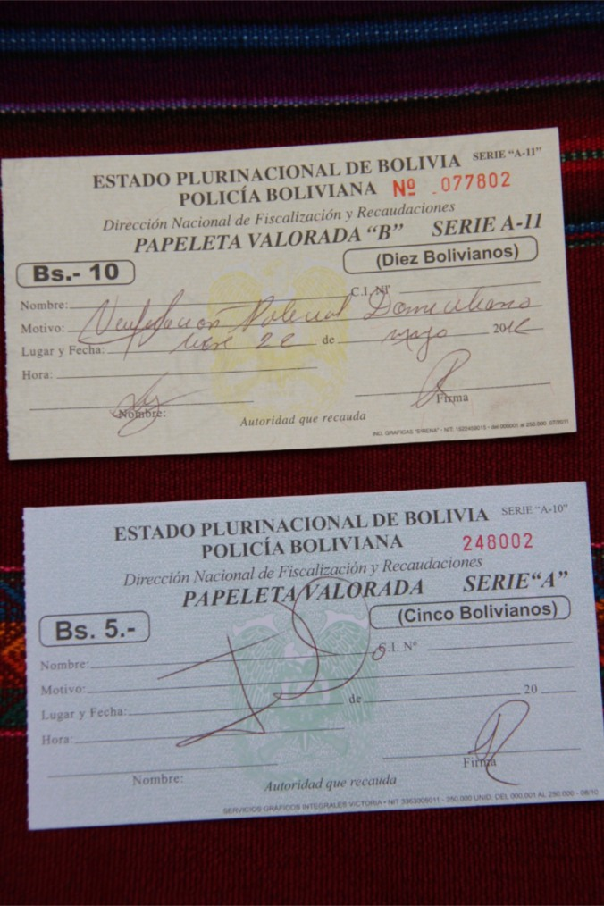 Bolivian immigration documents, Sucre, Bolivia