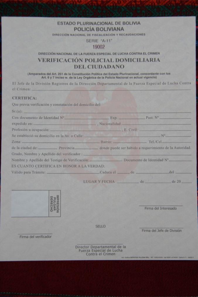 Bolivian immigration documents, Sucre, Bolivia