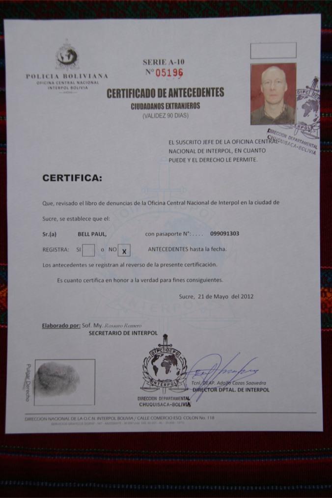 Interpol certificate, Sucre, Bolivia