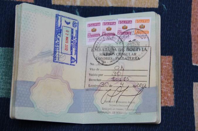 One month Bolivian visa, Sucre Bolivia