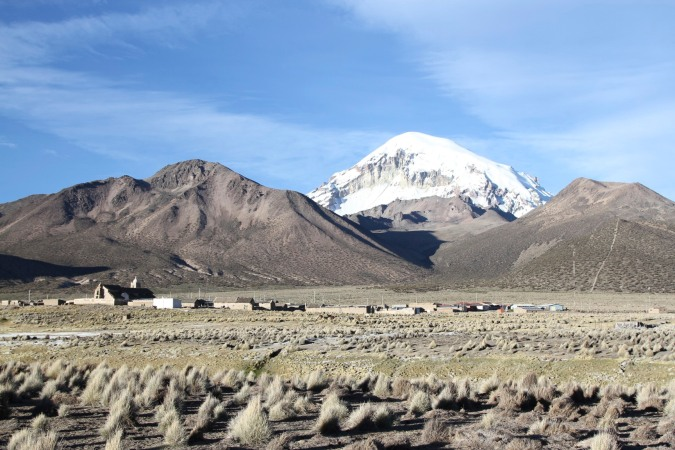 Sajama village with Vulcan Sajama as a backdrop, Bolivia