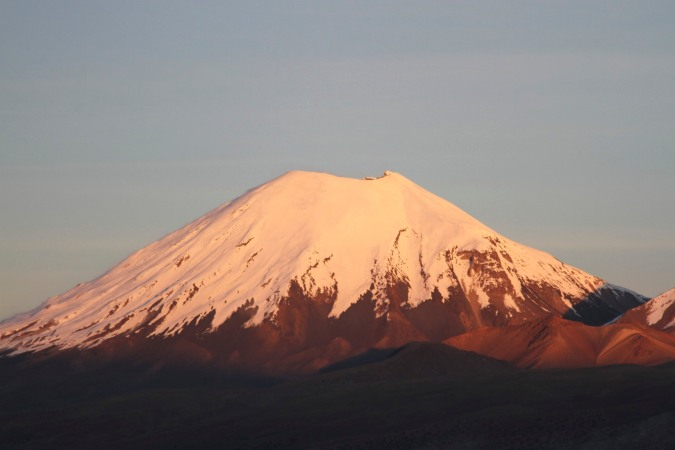 The near perfect cone-shaped Vulcan Parinacota, Bolivia