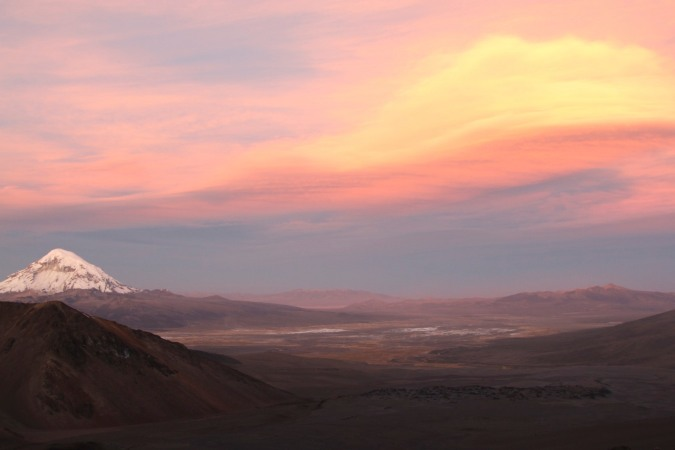 Sunset with Vulcan Sajama, Bolivia