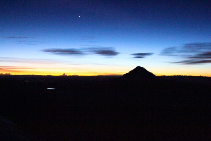 Sunrise over Sajama from around 6000m on Vulcan Parinacota, Bolivia