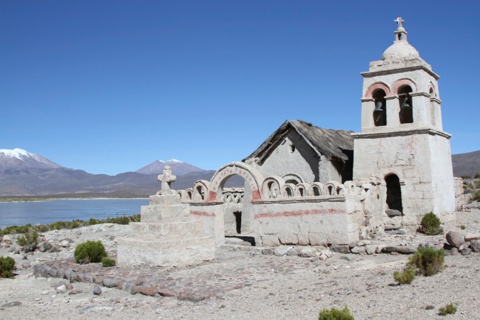 Adobe church on the outskirts of a small village in the middle of the altiplano, Bolivia