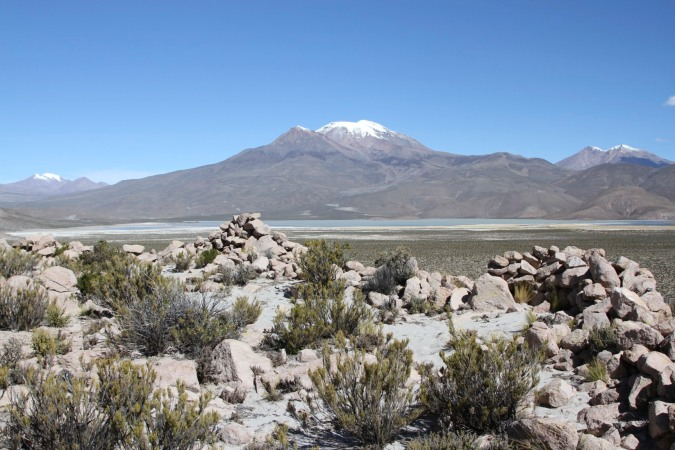 The view from a pre-Hispanic fort on a small hilltop, Altiplano, Bolivia