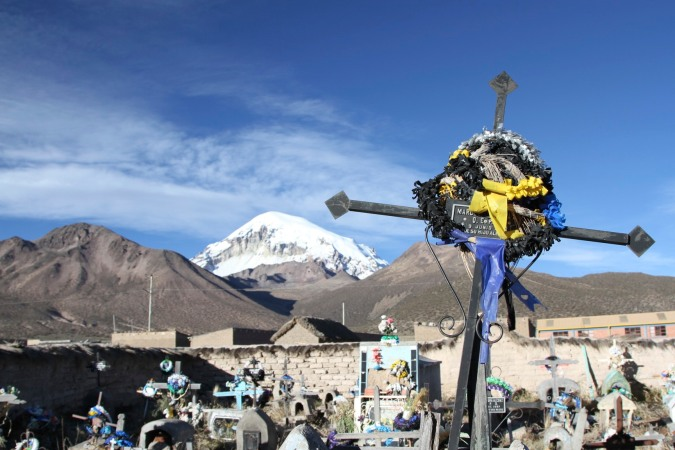 Graveyard in Sajama village, Altiplano, Bolivia