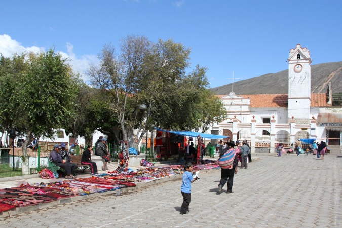 Textiles are centred on the more relaxed main plaza, Tarabuco, Bolivia