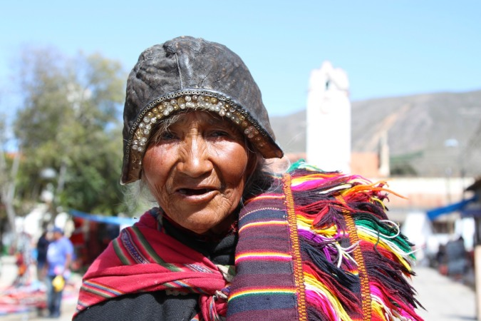 Typical Tarabucenos dress. Tarabuco, Bolivia