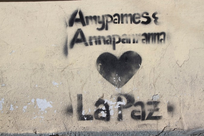 I wouldn't go as far as saying I 'heart' La Paz, but I'm getting there. Street Art, La Paz, Bolivia
