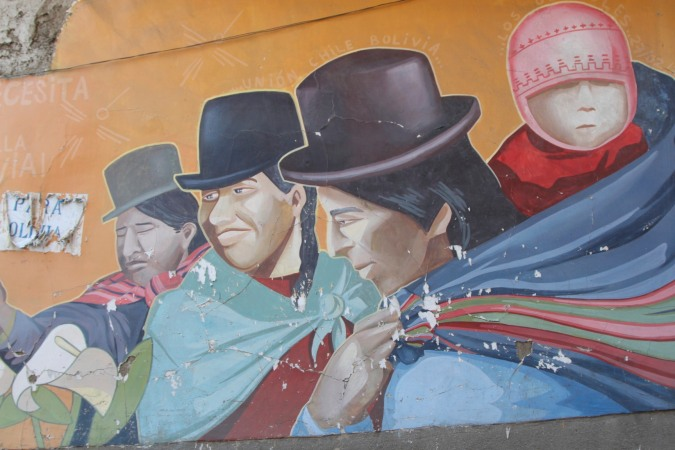 A typical Andean scene, Street Art, La Paz, Bolivia