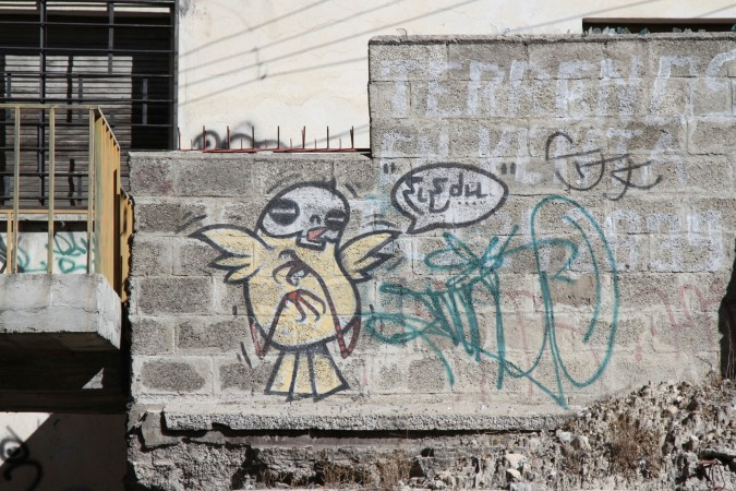 Scene from the La Paz tunnel. Street Art, La Paz, Bolivia