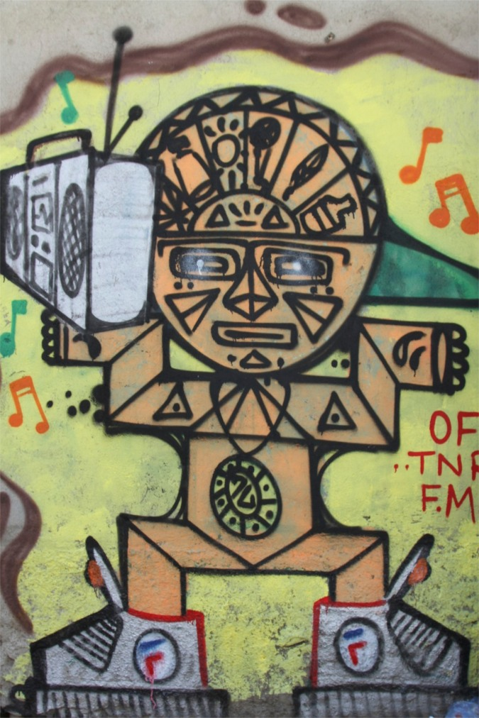 Traditional Incan forms merge with modern spray paint culture, Street Art, La Paz, Bolivia