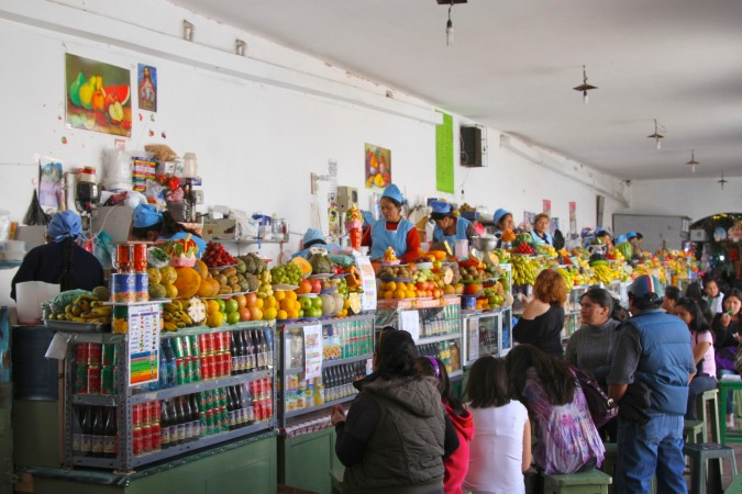 Fruit juice stalls in the Mercardo Central, Sucre, Bolivia