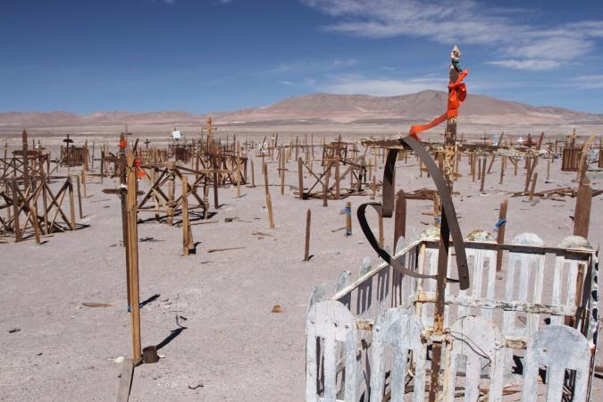 A heart in the desert, miners cemetery, Atacama Desert, Chile