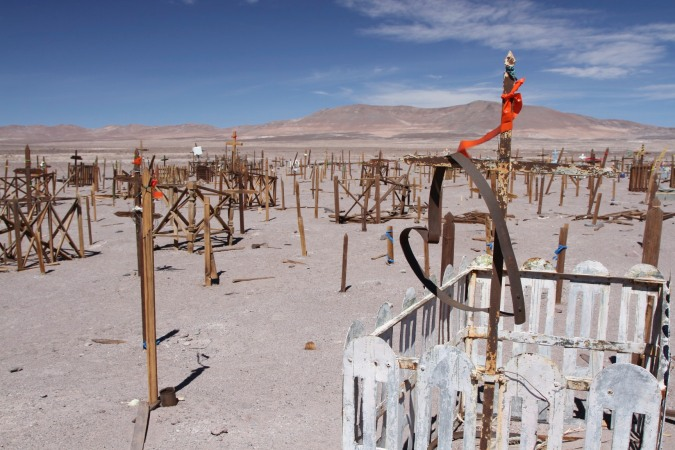 A heart in the desert, miners cemetery, Atacama Desert, Chile