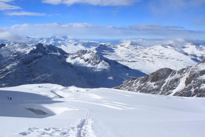 The Cordillera Real from the lower slopes of Huyana Potosi, Bolivia