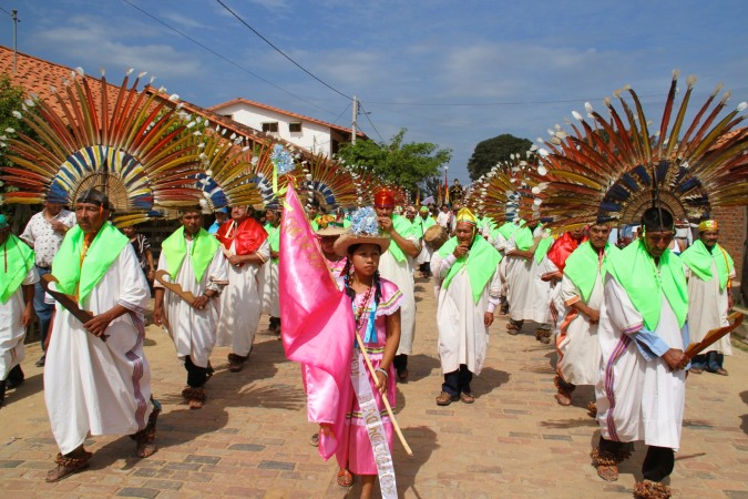 Parade during fiesta in San Ignacio de Moxos, Bolivian Amazon