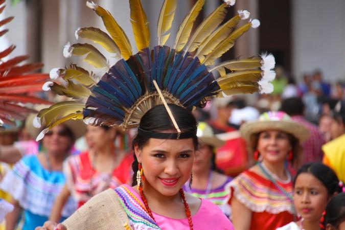 Traditional Amazonian headdress, San Ignacio de Moxos, Bolivia