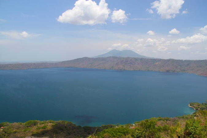 Laguna Apoyo, a vast lake inside the cone of an extinct volcano, Nicaragua