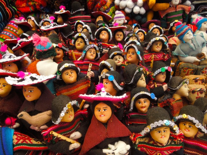 Handmade dolls in traditional costumes, Tarabuco, Bolivia