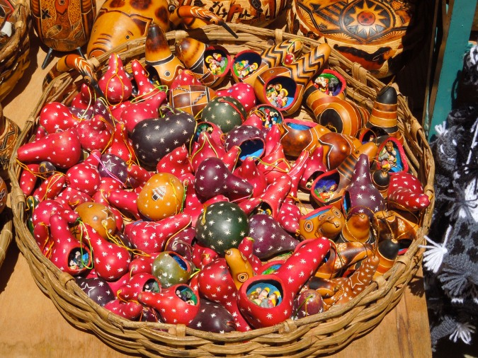 Gourds with nativity scene, Tarabuco, Bolivia