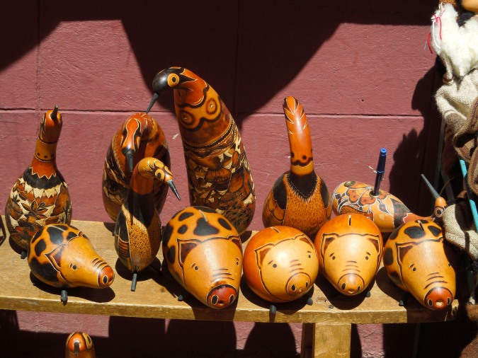 Piggy bank and animal gourds, Tarabuco, Bolivia