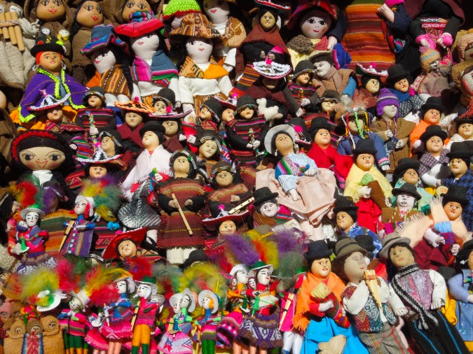 Handmade dolls wearing traditional costumes, Tarabuco, Bolivia