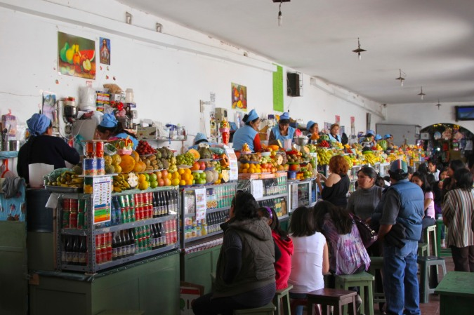 Juice stalls in Sucre's Mercardo Central, Bolivia