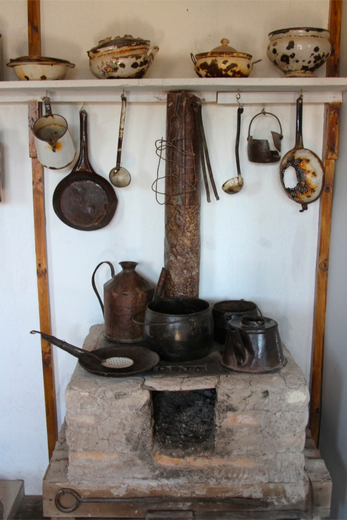 Kitchen in workers' cottage, Humberstone, Atacama Desert, Chile