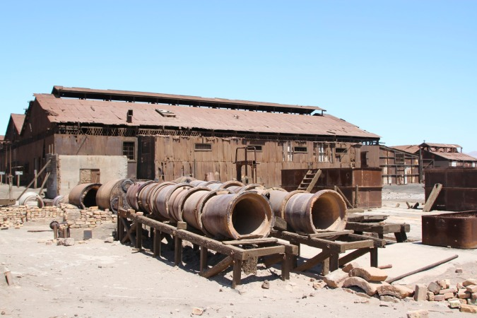Big pipes used as part of a process with iodine, Humberstone, Atacama Desert, Chile