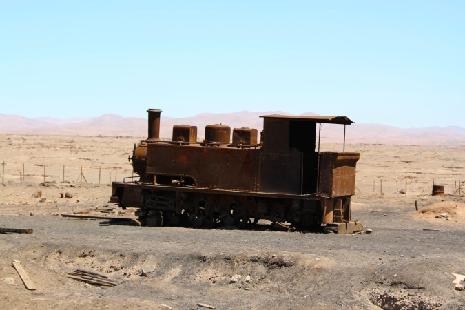 Abandoned train, Humberstone, Atacama Desert, Chile