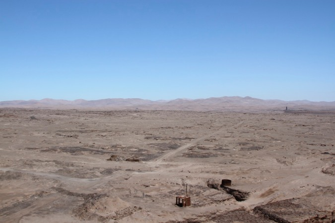 Desolate landscape of the Atacama Desert near to Humberstone nitrate complex, Chile