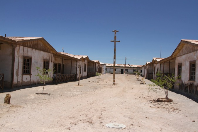 Street of workers' cottages at Humberstone, Atacama Desert, Chile
