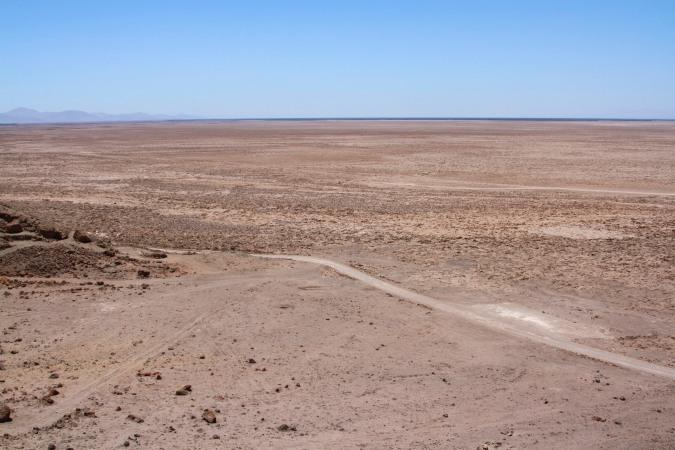 The landscape of the Atacama Desert surrounding the Cerro Pintados geoglyphs, Chile
