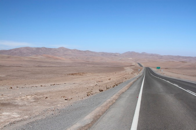 The Ruta 5 passing through the Atacama Desert, Chile