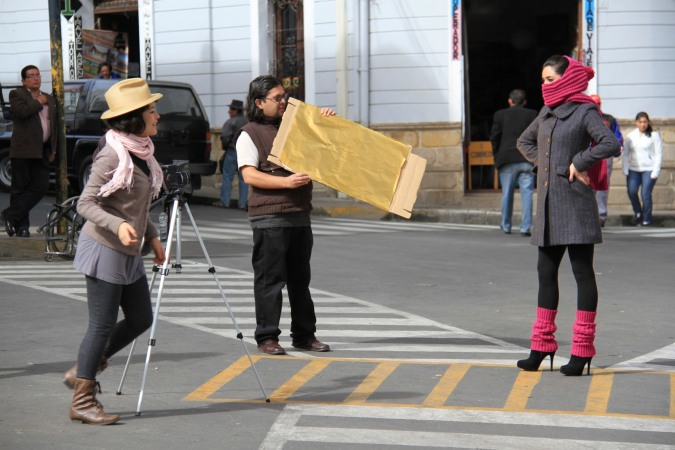 Fashion shoot in the streets of Sucre, Bolivia