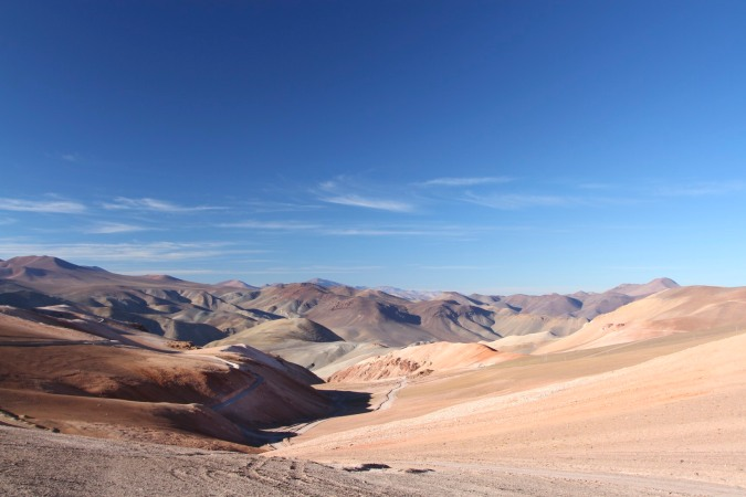 Andean foothills drop to the Atacama Desert, near Parque Nacional de Tres Cruces, Chile