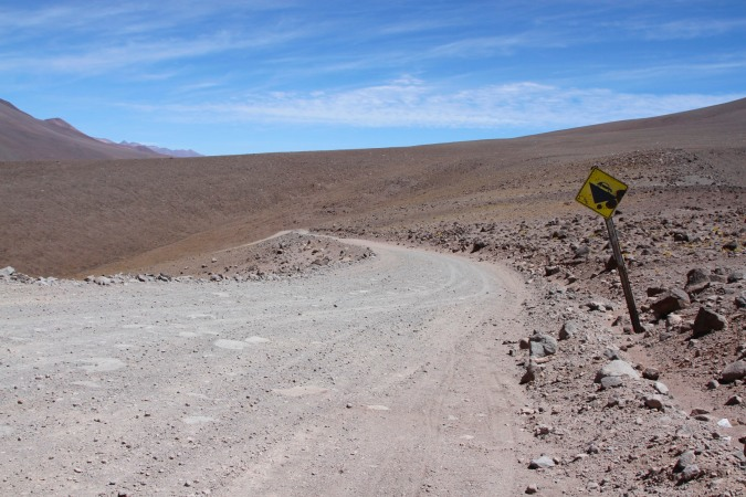 Road sign to nowhere, Parque Nacional de Tres Cruces, Chile