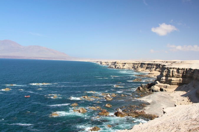 Pacific Ocean cliffs north of Antofagasta, Chile