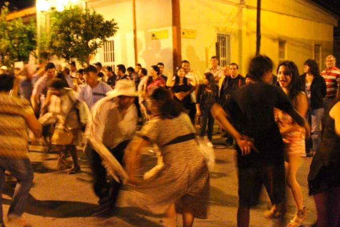 People party during fiesta in Pica, Chile