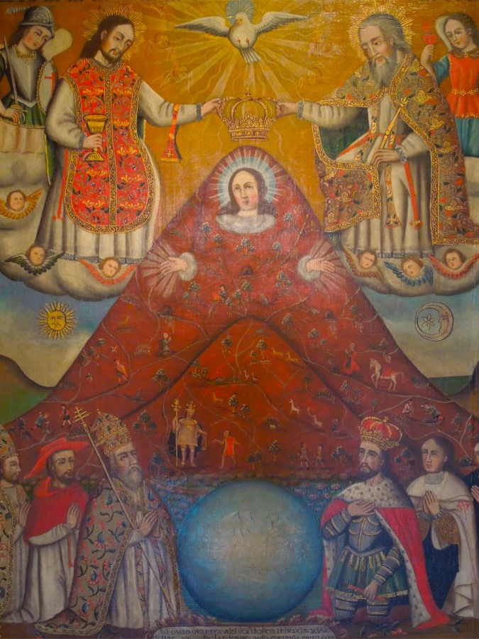 Religious art incorporating the Cerro Rico, Casa de la Moneda, Potosi, Bolivia