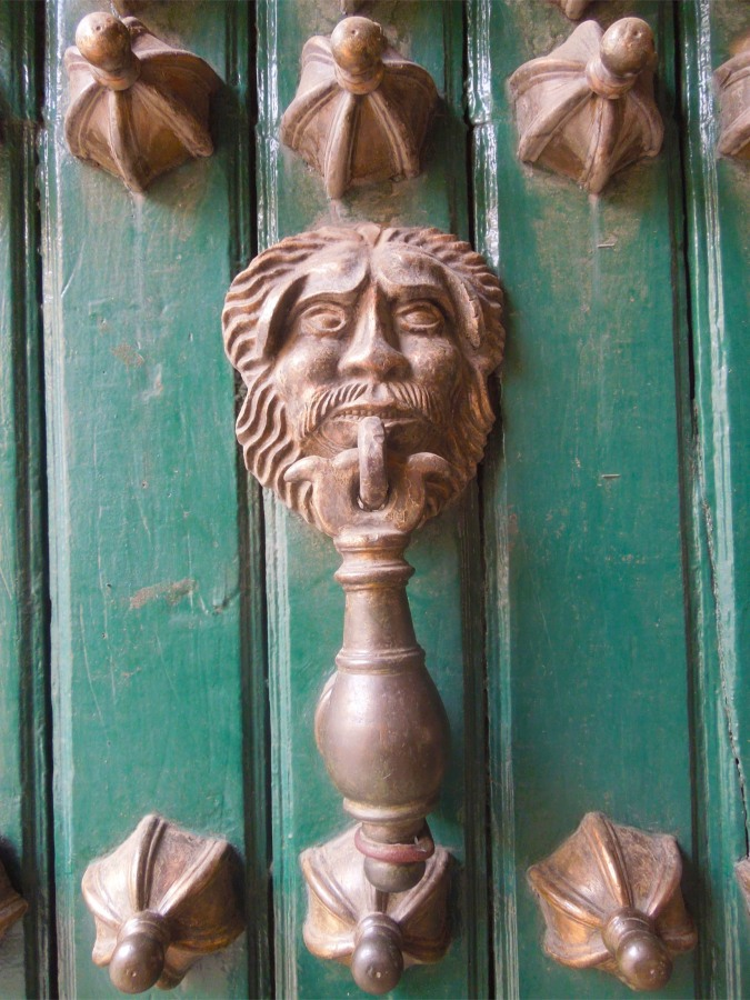 Detail from the entrance doors in the Casa de la Moneda, Potosi, Bolivia