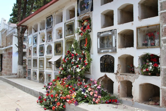Flowers and graves, cemetery, Sucre, Bolivia