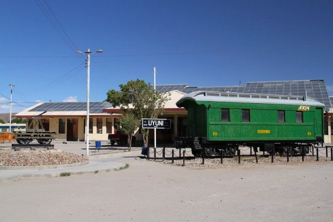 Uyuni railway station with old carriage, Uyuni, Bolivia