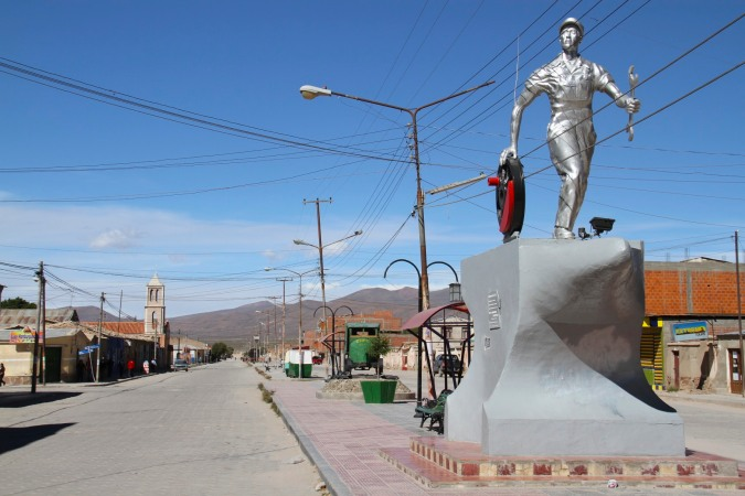 Statue to Uyuni's industrial past, Bolivia