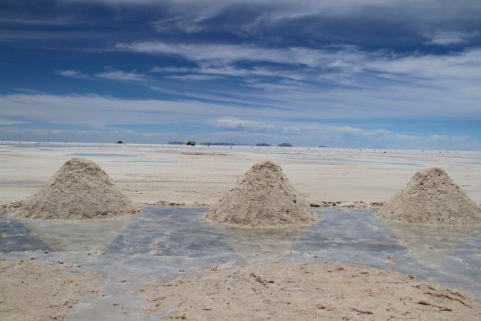 Mining salt, Salar de Uyuni, Bolivia