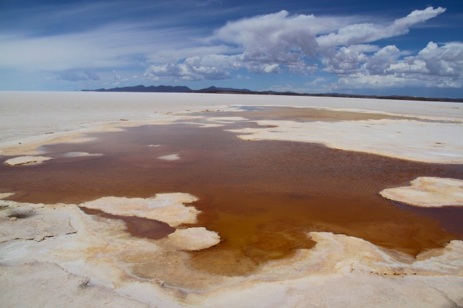 Volcanic pools in the Salar de Uyuni, Bolivia