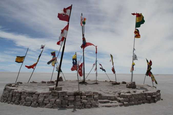 Flags in the Salar de Uyuni, Bolivia