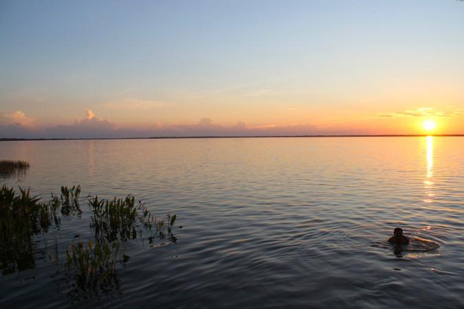 Sunset over a lake, San Ignacio de Moxos, Bolivia